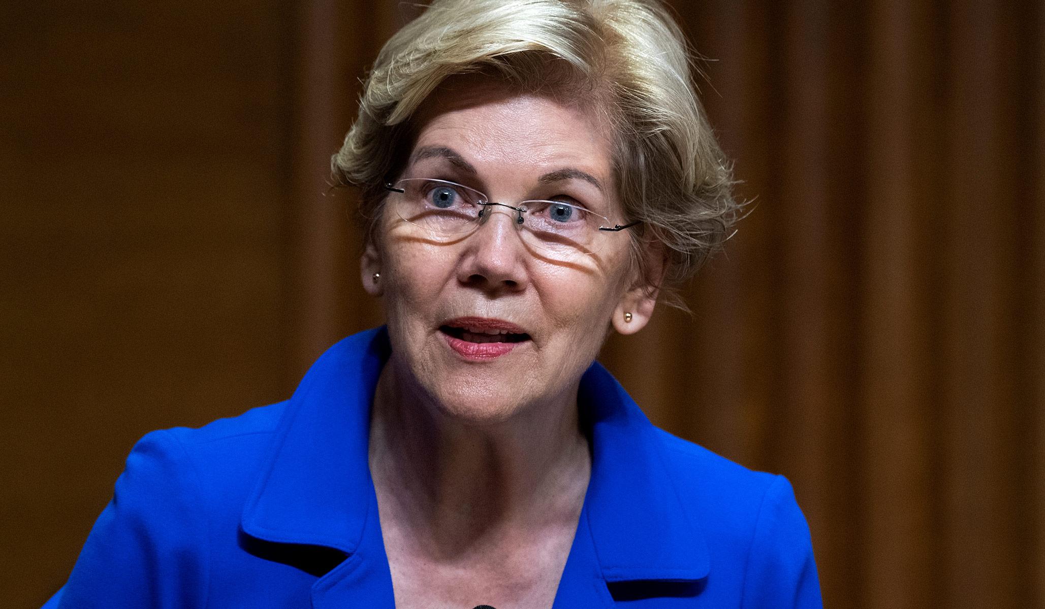 Senator Elizabeth Warren at a Senate Finance Committee hearing in Washington, D.C.