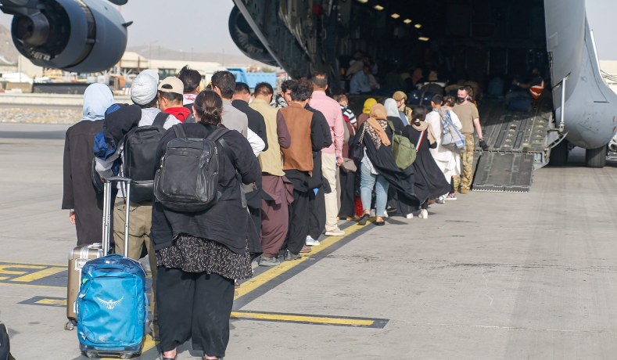 kabul airport evacuees